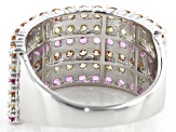 Pink, Orange, And Yellow Cubic Zirconia Rhodium Over Sterling Silver Ring 4.32ctw
