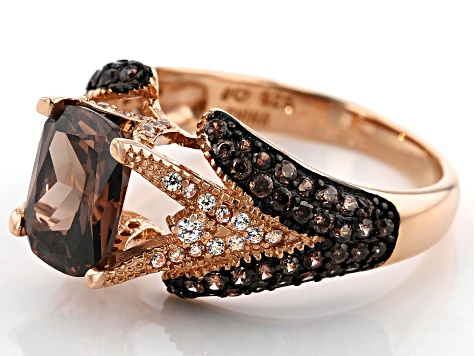 Mocha And White Cubic Zirconia 18K Rose Gold Over Sterling Silver Ring 4.64ctw