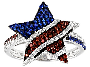 Red, White, And Blue Cubic Zirconia Rhodium Over Sterling Silver Star Flag Ring 1.24ctw