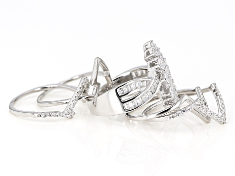 White Cubic Zirconia Rhodium Over Sterling Silver Set of 5 Rings 3.55ctw