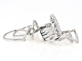 White Cubic Zirconia Rhodium Over Sterling Silver Set of 5 Rings 4.24ctw