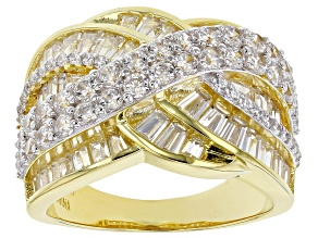 White Cubic Zirconia 18K Yellow Gold Over Sterling Silver Ring 5.37ctw