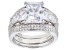 White Cubic Zirconia Rhodium Over Sterling Silver Ring With 2 Bands 9.07ctw