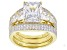 White Cubic Zirconia 18K Yellow Gold Over Sterling Silver Ring With 2 Bands 9.07tw