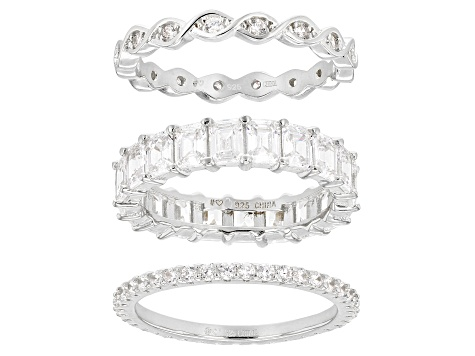 White Cubic Zirconia Rhodium Over Sterling Silver Band Rings Set of 3 7.59ctw