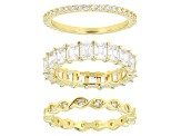 White Cubic Zirconia 18K Yellow Gold Over Sterling Silver Band Rings Set of 3 7.59ctw