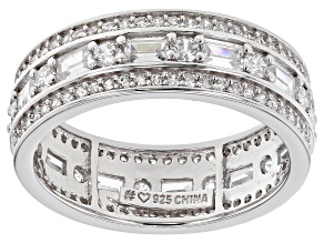 White Cubic Zirconia Rhodium Over Sterling Silver Band Ring 3.62ctw