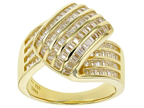 White Cubic Zirconia 18K Yellow Gold Over Sterling Silver Ring 2.60ctw