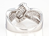 White Cubic Zirconia Rhodium Over Sterling Silver Ring 1.73ctw