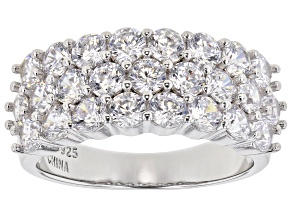 White Cubic Zirconia Rhodium Over Sterling Silver Ring 4.28ctw