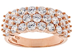 White Cubic Zirconia 18K Rose Gold Over Sterling Silver Ring 4.28ctw