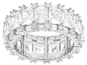 White Cubic Zirconia Rhodium Over Sterling Silver Eternity Band Ring 16.25ctw