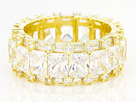White Cubic Zirconia 18K Yellow Gold Over Sterling Silver Eternity Band Ring 16.25ctw