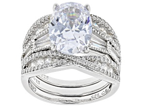 White Cubic Zirconia Rhodium Over Sterling Silver Ring With 2 Bands 10.89ctw
