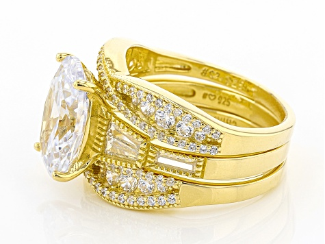 White Cubic Zirconia 18K Yellow Gold Over Sterling Silver Ring With 2 Bands 10.89ctw