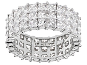 White Cubic Zirconia Rhodiumm Over Sterling Silver Eternity Band Ring 11.59ctw