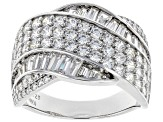 White Cubic Zirconia Rhodium Over Sterling Silver Ring 4.03ctw