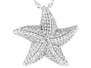 White Cubic Zirconia Rhodium Over Sterling Silver Starfish Pendant With Chain 1.80ctw