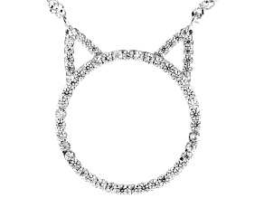 White Cubic Zirconia Rhodium Over Sterling Silver Cat Necklace 0.57ctw
