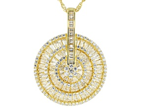 White Cubic Zirconia 18K Yellow Gold Over Sterling Silver Pendant With Chain 6.95ctw