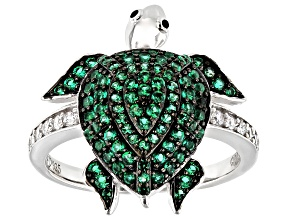 Green And White Cubic Zirconia Rhodium Over Sterling Silver Turtle Ring 1.22ctw