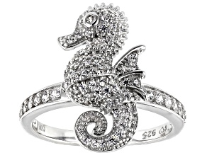 White Cubic Zirconia Rhodium Over Sterling Silver Seahorse Ring 1.11ctw