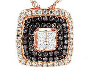 White, Mocha, And Champagne Cubic Zirconia 18k Rose Gold Over Silver Pendant With Chain 1.26ctw