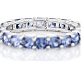 Blue Cubic Zirconia Rhodium Over Sterling Silver Eternity Band Ring 4.10ctw