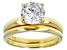 White Cubic Zirconia 18K Yellow Gold Over Sterling Silver Ring With Band 3.30ctw