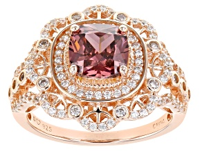 Blush And White Cubic Zirconia 18K Rose Gold Over Sterling Silver Ring 3.41ctw