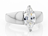 White Cubic Zirconia Rhodium Over Sterling Silver Ring 2.45ctw