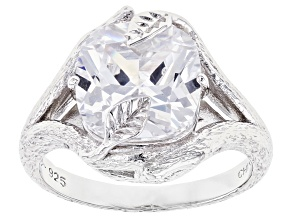White Cubic Zirconia Rhodium Over Silver Ring 6.08ctw (3.87ctw DEW)