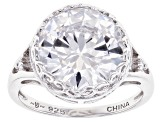 White Cubic Zirconia Rhodium Over Sterling Silver Ring 10.32ctw (6.84ctw DEW)