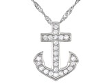 White Cubic Zirconia Rhodium Over Sterling Silver Anchor Pendant With Chain And Earrings 1.01ctw