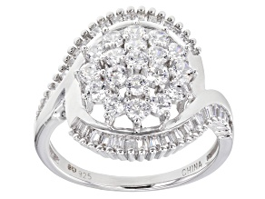 White Cubic Zirconia Rhodium Over Sterling Silver Ring 2.27ctw (0.76ctw DEW)