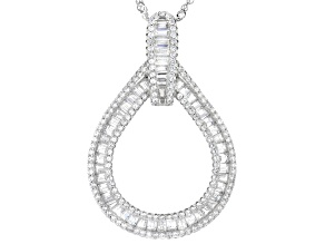White Cubic Zirconia Rhodium Over Sterling Silver Pendant With Chain 3.43ctw (2.26ctw DEW)