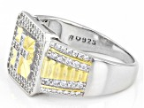 White Cubic Zirconia Rhodium and 14K Yellow Gold Over Sterling Silver Mens Cross Ring 1.53ctw