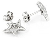White Cubic Zirconia Rhodium Over Sterling Silver Starfish Stud Earrings 0.25ctw