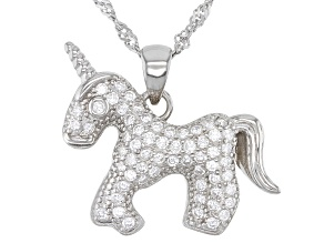 White Cubic Zirconia Rhodium Over Sterling Silver Unicorn Pendant With Chain 0.67ctw (0.40ctw DEW)