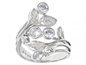 White Cubic Zirconia Rhodium Over Sterling Silver Leaf Ring 1.62ctw