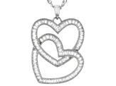 White Cubic Zirconia Rhodium Over Sterling Silver Heart Pendant With Chain
