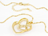 White Cubic Zirconia 18K Yellow Gold Over Sterling Silver Heart Pendant With Chain