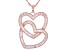 White Cubic Zirconia 18K Rose Gold Over Sterling Silver Heart Pendant With Chain