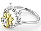 White Cubic Zirconia Rhodium Over Silver And 18k Yellow Gold Cat Ring 0.48ctw (0.25ctw DEW)