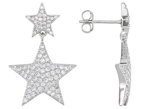 White Cubic Zirconia Rhodium Over Sterling Silver Star Earrings 1.93ctw