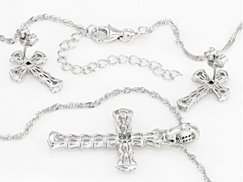 White Cubic Zirconia Rhodium Over Silver Cross Pendant With Chain And Earrings (0.74ctw DEW)