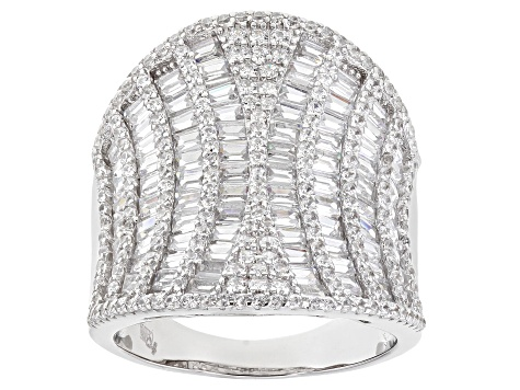 White Cubic Zirconia Rhodium Over Sterling Silver Ring 6.37ctw