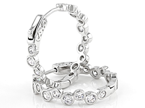White Cubic Zirconia Rhodium Over Sterling Silver Hoop Earrings 4.53ctw (2.72ctw DEW)