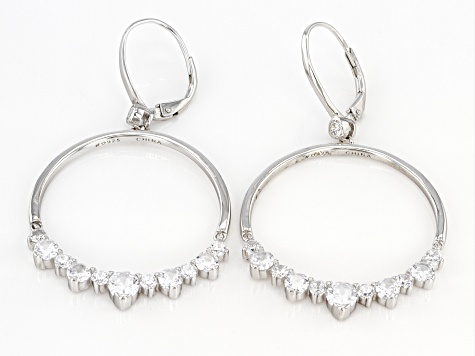 White Cubic Zirconia Rhodium Over Sterling Silver Earrings 4.80ctw