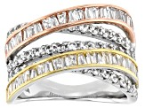 White Cubic Zirconia Rhodium And 14K Yellow And Rose Gold Over Sterling Silver Ring 3.60ctw